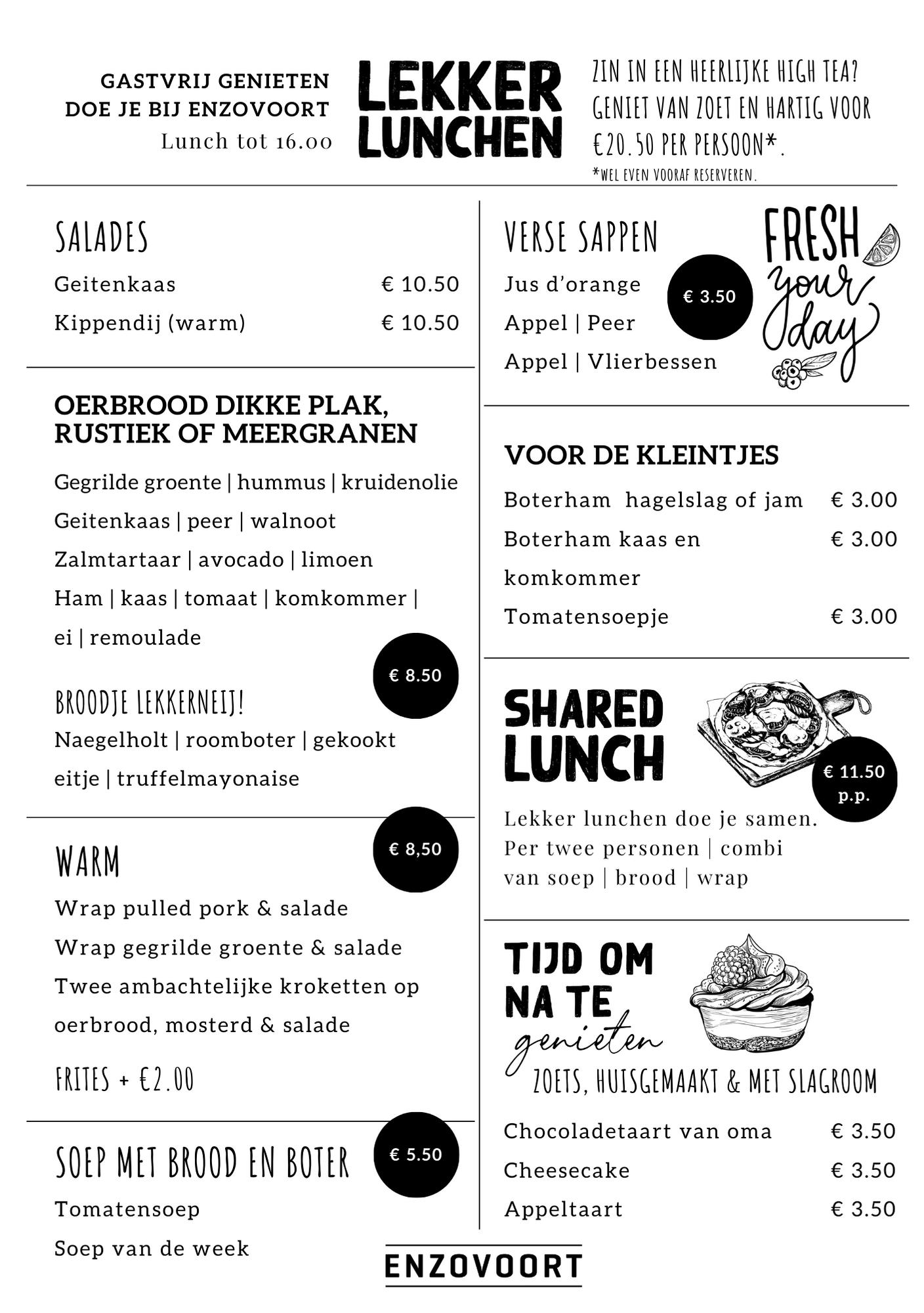 Lunchkaart Enzovoort